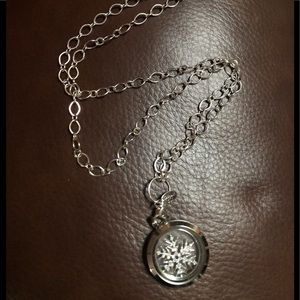 Origami owl necklace with locket and snowflake